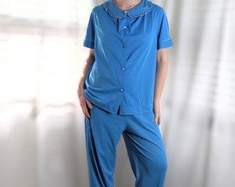 Vintage 90s Lt Blue Pajama Set M Robert Alan Long Sleeve