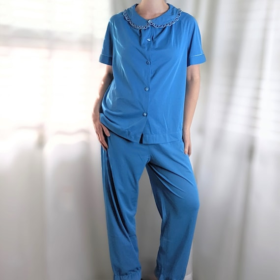 Vintage 1950's Bright Blue Pajama Set