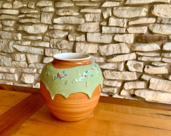 Handmade Ceramic Donutware Vase with Thick Drippy Green Frosting and 3D Sprinkles