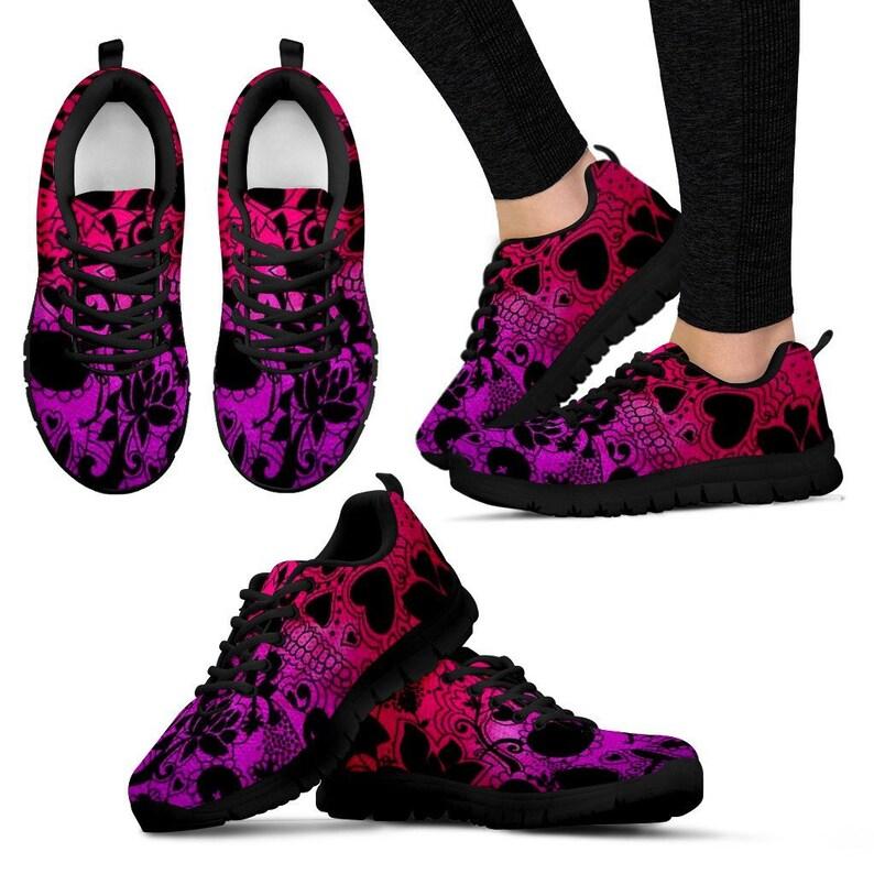 Red Purple Sugar Skull Womens Festival Sneaker Shoes image 0