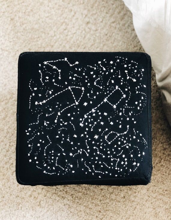 Amazing Constellation Hand Embroidered Storage Ottoman Bralicious Painted Fabric Chair Ideas Braliciousco