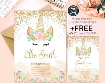 Unicorn Invitation, Unicorn Birthday Invitation, Glitter Unicorn Invitation, Magical Unicorn, Digital File