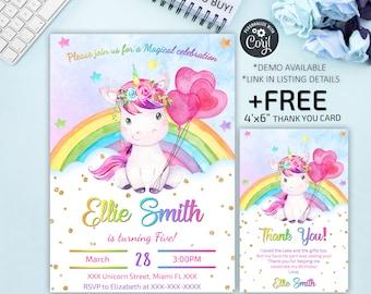 Unicorn  Invitation, Unicorn Birthday Invitation, Party Invitation, Magical Unicorn, Digital File