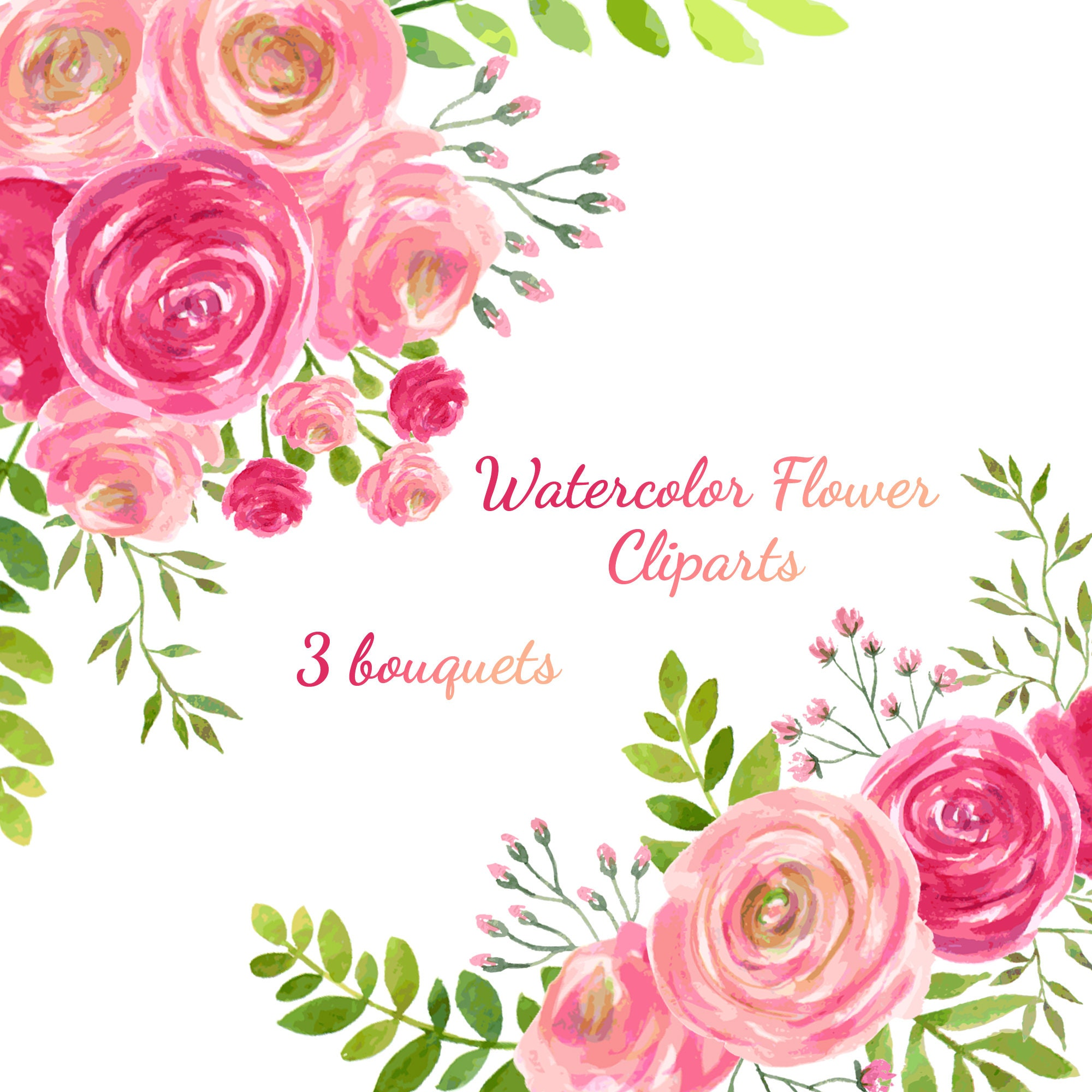 Wedding Floral Watercolor Flowers Watercolor Flowers Clipart Etsy