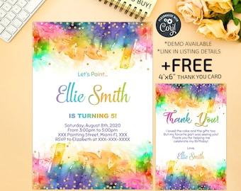 Painting Birthday Invitation, Painting Invitation, Painting Party Invite, Art Party Invitation, Digital File