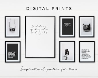 Creative Wall Decor for Teen Room - Set of 7 Prints for Download