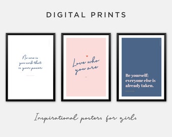 Inspirational Quotes in Pink and Navy. Printable Wall Art in Bold Feminine Colours. Set of 3 Prints for Download