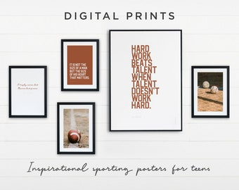 Dorm Room Decor. Art Prints for Teen Room. Set of 5 Sports Themed Prints for Download