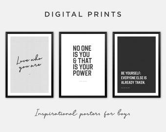 Inspirational Printable Art for Boys Room. Set of 3 for Download in Black & White