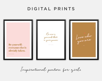 Quotes in Pink and Gold. Inspirational Art Printables in Bold Feminine Colours. Set of 3 Prints for Download