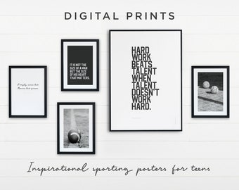 Sports Themed Dorm Decor - Set of 5 digital prints for download