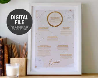 Personalised Gift, Gold Wall Art Print, Astrology & Human Design Digital File,  Natal Chart + Soul Purpose Poster
