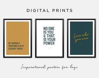 Inspirational Wall Art Print for Boys Room - Set of 3 for Download