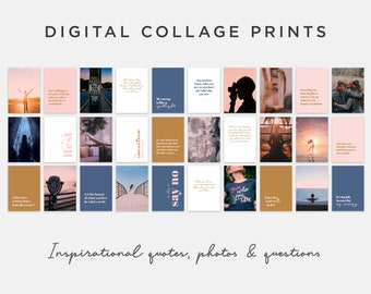 Inspirational Collage Kit. Wall art prints of positive quotes, motivating images and questions. 30 wall decor prints in a digital download
