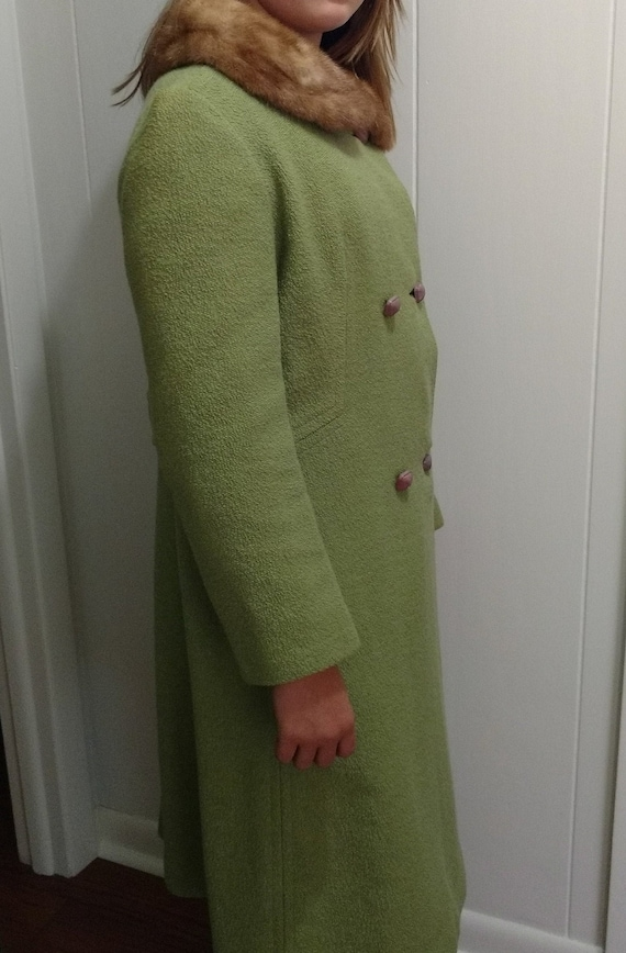 1960's Green Boucle Wool Coat with Mink Collar