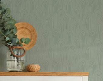 Subtle Drawn Arches Removable Wallpaper, Alternate Colours available / Abstract lines Modern Wall / Custom Wallpaper / Subtle Wallpaper