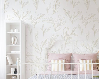 Painted Leaves Removable Wallpaper / Neutral Leaves /  Modern Wallpaper / Hand Drawn Leafy Wallpaper / Plant Theme / Nursery Wallpaper