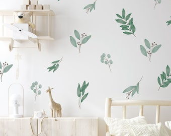 Removable Wall Decals / Watercolor Leaves / Botanical / Eucalyptus Decals / Leaves Decals / Greenery Wall Decals / Scandinavian