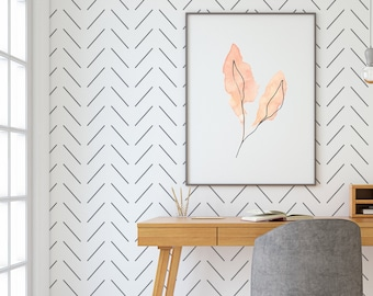 Herringbone Wallpaper / Chevron Wallpaper / Zig Zag Wallpaper / Removable Wallpaper / Scandi Wallpaper / Minimalist Wallpaper / Modern Walls