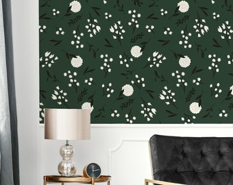 Black and White Floral Removable Wallpaper /  Floral Wallpaper / Moody Floral Wallpaper / Plant Theme / Botanical Walls