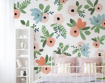 Hand Painted Floral Removable Wallpaper /  Floral / Painted Flowers Wallpaper / Girls Nursery / Floral Wall decor