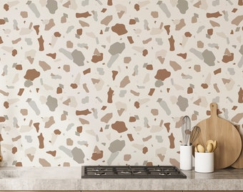 Earthy Neutral Terrazzo Removable Wallpaper / Geometric Wallpaper / Terrazzo Wall Decor / Stone Wallpaper / Accent Wall / Feature Wall