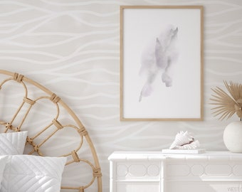 Boho Wave Removable Wallpaper, Alternate Colours available / Abstract lines Modern Wall / Custom Wallpaper / Modern Nursery / Subtle Walls