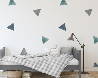 Watercolor Triangle Removable Wall Decals Small or Oversized / Blue Grey Green Triangles / Painted Triangles / Nursery Decals / Kids Decals