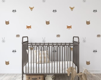 Woodland Watercolour Animals Removable Wall Decals / Forest Decals / Forest Animals / Forest Compilation / Forest Wall Art / Neutral Nursery