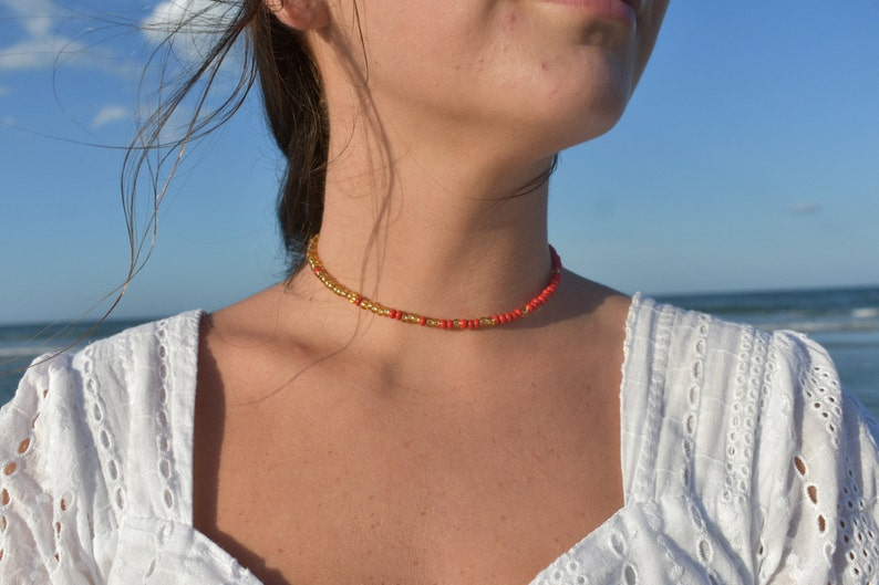 CHAOS Collection /'July/' Style Poppy Red Gold Beaded Stainless Steel Nickel-free Trendy Summer Choker Short Necklace Bracelet
