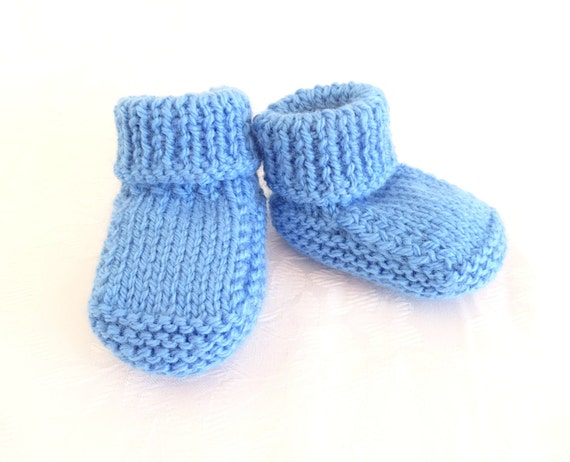 Knit blue baby boy booties knit baby
