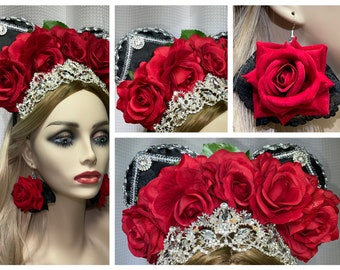 Fancy Mouse Ears Headband, Princess Rhinestone Tiara Crown, Red Roses, Black Fabric, Silver Trim, Premium Earrings Included, FREE Shipping