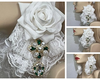 Earrings, Emerald Green Crystals Faux Pearls White Lace Roses Golden Ornament Formal Romantic Wedding Bride Bridal, Victorian, FREE Shipping