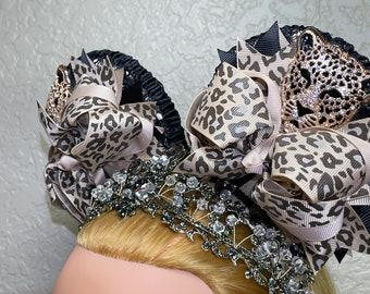 Fancy Mouse Ears Headband, Princess Tiara Crown, Happy Birthday Party Hat, Animal Safari, Leopard Print, Cheetah, Fascinator, FREE Shipping