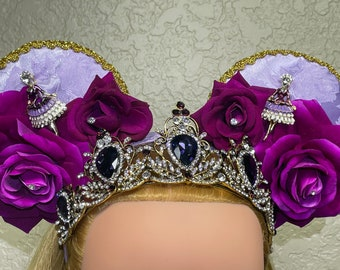 Fancy Mouse Ears Headband, Princess Tiara Crown, Birthday Party Hat, Purple Ballerina Dance Dancer, Women's Hat, Fascinator, FREE Shipping