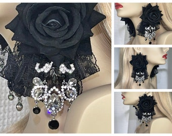 Earrings, Black Roses, Black And Silver Rhinestones, Lace Formal Party, Long, Dangle, Statement, Oversized, Evening Ball Gown, FREE Shipping