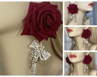Earrings, Golden Rhinestone Bows, Dark Red Roses, Long Dangling, Formal Dressy, Elegant, Sophisticated, Sparkling Shiny Bling, FREE Shipping