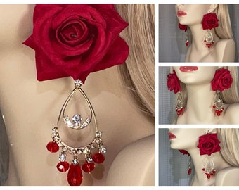 Earrings, Red Crystals, Rhinestones, Red Roses, Oversized, Large, Big, Fancy, Party, Statement, Wedding, Reception, Event