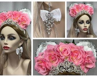 Fancy Mouse Ears Headband, Princess Rhinestone Tiara Crown, Pink Roses, White Fabric, Silver Trim, Includes Premium Earrings, FREE Shipping