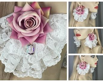 Earrings, Mauve Pink Roses, Light Purple Crystal, White Lace Ruffles, Victorian, Romantic, Historical, Classic Sweet Lolita