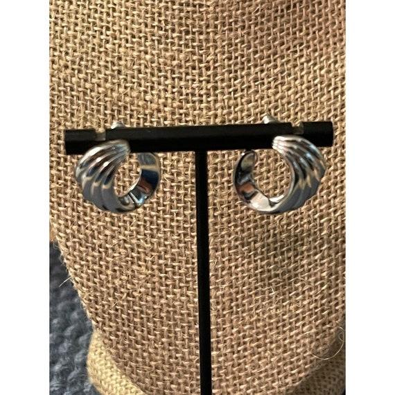 Vintage Monet Silver Tone swirl pierced earrings … - image 1