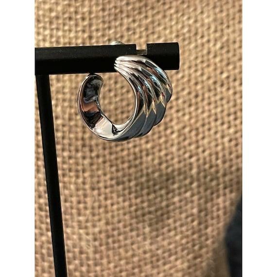Vintage Monet Silver Tone swirl pierced earrings … - image 2