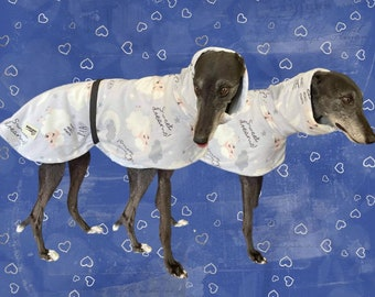 Cosy Greyhound deluxe style micro fleece thick white sheep & clouds
