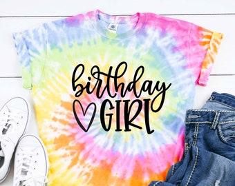 Tie Dye Birthday Girl Shirt - Birthday Girl Tank or T-shirt - Tie Dye Shirt - Pastel Neon Galaxy Birthday Party Shirt