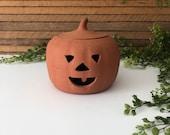 Ceramic Pumpkin Vintage Terra Cotta Pottery Halloween Decoration,Jack-o'-Lantern,Pumpkin Luminaries, Fall Porch, Patio, Mantel, Hearth Decor