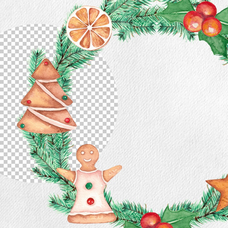 Gingerbread Wreath Watercolor Clipart Printable Illustration Free Commercial Use Diy Fir Branches Holiday Decoration Christmas Cookies Clip Art Art Collectibles Vadel Com