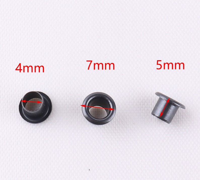 4 mm Hole black color Round Eyelets Metal tiny Eyelet with Washer Grommet Eyelet for clothesleathercanvas