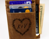 Personalized Leather Card Holder Valentine 39 s Day Edition, Minimalist Wallet, Front Pocket Wallet, RFID Card Case, ID Window Card Holder.