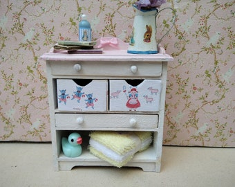 Dollhouse Nursery changing table/ baby basket,/Furniture handpainted.1:12./Dollhouse nursery furniture/.Shabby Dolls.Little red riding hood