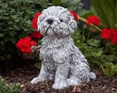 Beautiful Shih Tzu Stone Statue, Concrete Figure, Dog Memorial, Funny Puppy Garden Decor, Outdoor Ornament, Hand Cast Stone Animal Sculpture